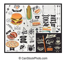 Retro vintage style fast food desig - Set of Calligraphic...
