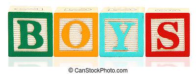 alfabeto, blocos, meninos