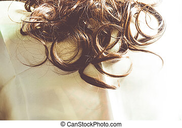 Synthetic Curly Hair Filtered - Brown synthetic curly hair...
