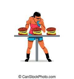 Vector Athlete on fast food speed eating Cartoon...