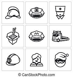 Vector Set of Emergency Services Icons Firefighter, Police,...
