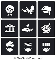 Vector Set of Social Payment Icons. Pension, Child benefit,...