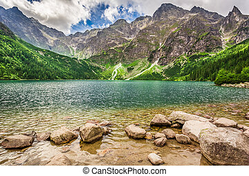 Lake in the Tatra Mountains at dawn