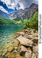 Lake in the mountains at summer