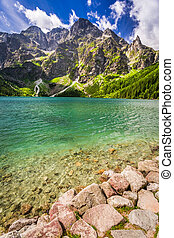Beautiful lake in the Tatra Mountains at summer