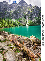 Beautiful pond in the Tatra Mountains at dawn