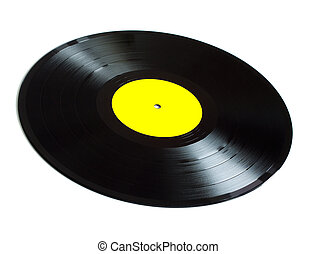 Long-play vinyl records isolated