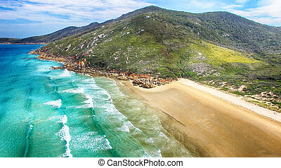 Aerial view of Squeaky Beach, Victoria, Australia.