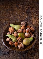 otoño, tazón, peras, Nueces