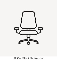 office chair icon of brown outline for illustration