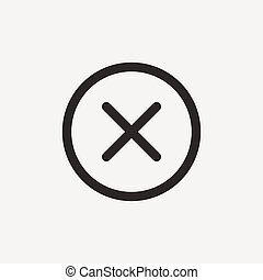 false mark icon of brown outline for illustration