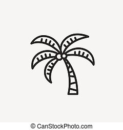coconut tree icon of brown outline for illustration