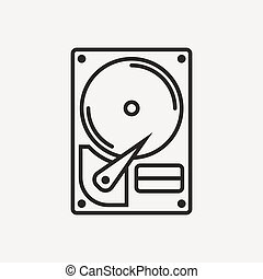 hard drive disk hdd icon in brown outline