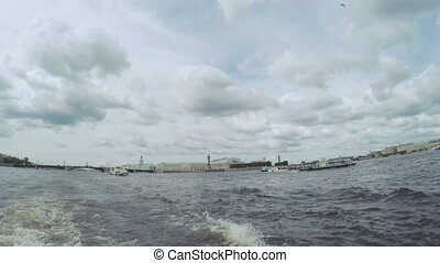 Next astern on river - RUSSIA, SAINT PETERSBURG, JULY, 2016:...