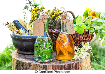 Healthy tincture with herbs and alcohol