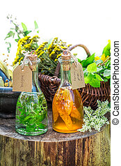 Healthy tincture with alcohol and herbs