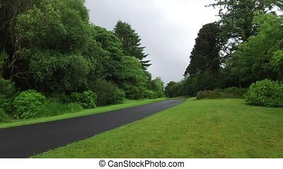 asphalt road at connemara in ireland - travel and...