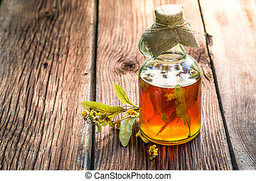 Healing tincture with herbs and alcohol