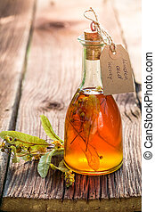 Healing tincture with alcohol and herbs