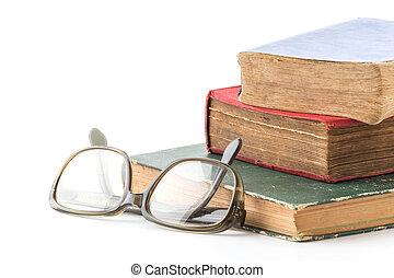 vit, bok, gammal, bakgrund, glasögon