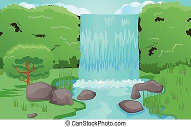 Waterfalls vector - Vector illustration of waterfalls.