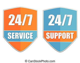 24/7 service and support, vector - 24/7 service and support,...