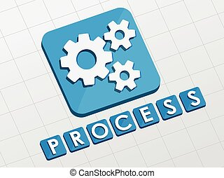process and gear wheels symbol, vec - process and gear...