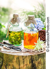 Healing tincture in bottles as an alternative cure