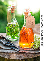 Homemade tincture with herbs and alcohol