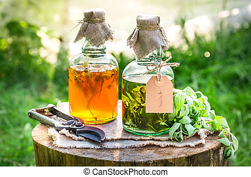 Homemade tincture with alcohol and herbs