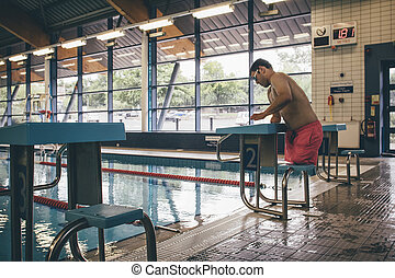 Ready to dive - Quadriplegic swimmer ready to dive in He is...