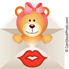 Girl teddy bear inside letter - Scalable vectorial image...