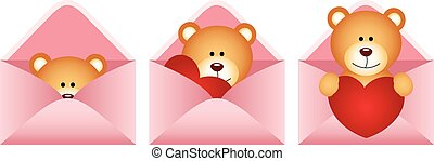 Teddy bear inside love letter - Scalable vectorial image...