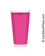 Plastic pink coffee cup on white