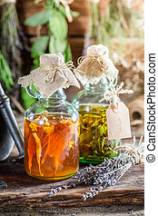 Therapeutic tincture with herbs and alcohol
