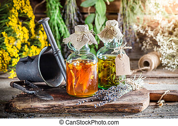 Therapeutic tincture with alcohol and herbs