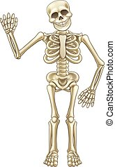 Cartoon Skeleton Waving - Cartoon skeleton mascot or...