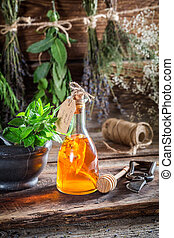 Aromatic tincture with alcohol and herbs