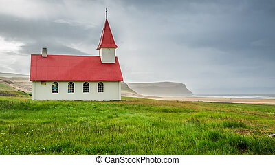 Small church on the beach in Iceland