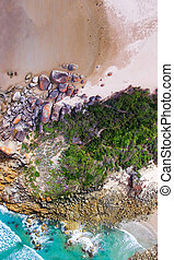 Overhead panoramic view of Squeaky Beach, Wilsons...
