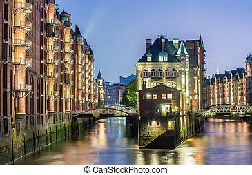 Hamburg, Germany - Popular Water Castle at night in the...