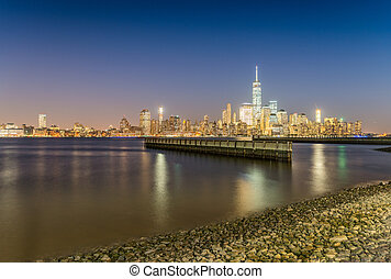 Downtown Manhattan at night from Jersey City, USA