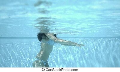 View of body under surface of water in pool - View of...