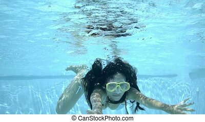 Underwater woman in bikini and goggles - Underwater woman...