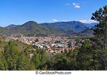 the town Quillan in France - the town Quillan in southern...