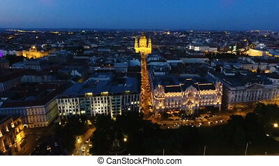 old city at the night - aerial shot of a drone of the old...
