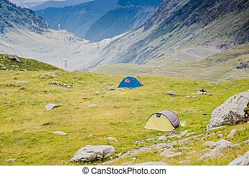Touristic tents near Balea Lake