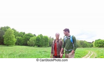 happy couple with backpacks walk on country road 4 - travel,...