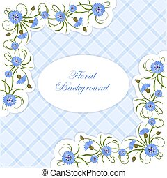 Vintage card with cornflowers and leaves. - Vintage card...