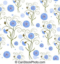 Seamless pattern with blue flowers - Seamless pattern with...